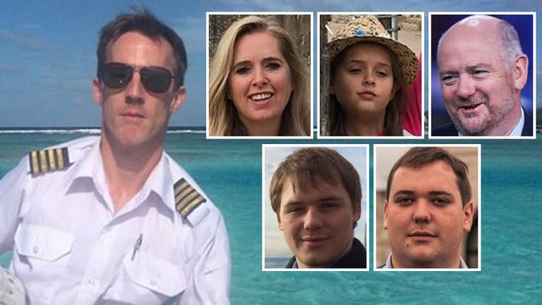 The victims of the crash: pilot Gareth Morgan, Richard Cousins, his two sons William and Edward, his fiancee Emma Bowden and her 11-year-old daughter, Heather.