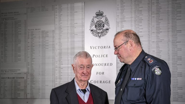 Former policeman Denis Ryan with Chief Commissioner Graham Ashton.