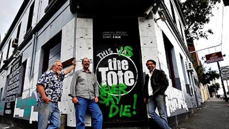 Taking over the Tote: New publicans Jon Perring (left), Sam Crupi and Andrew Portokallis.