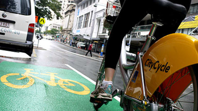 Brisbanetimes.com.au journalist Courtney Trenwith test rides one of the Brisbane City Council's new CityCycle rental bikes.