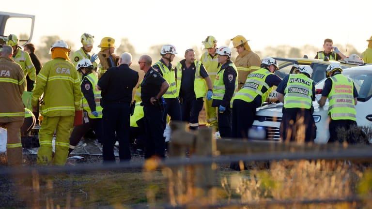 The scene of the crash at Ardmona.