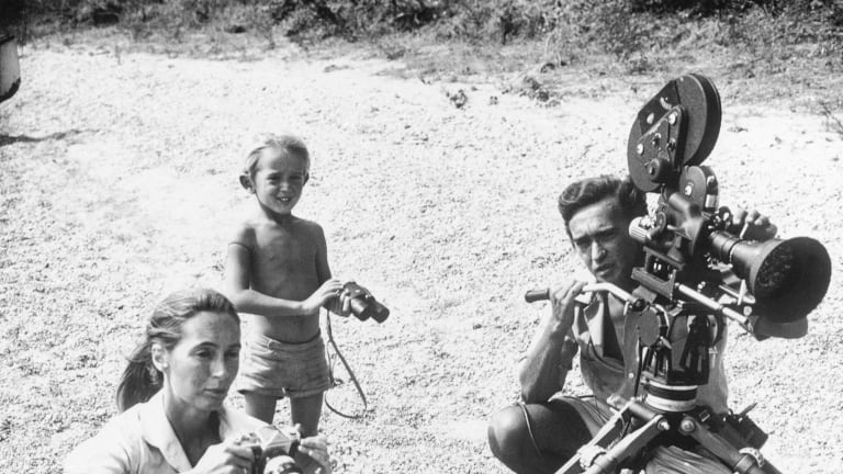 Jane Goodall, her first husband, Hugo van Lawick, and their son, Hugo, on the shores of East Africa's Lake Tanganyika in the late 1960s, during the filming of a BBC TV documentary.