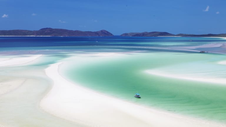 Whitehaven Beach, Queensland, one of several beaches which claims to have the whitest sand in Australia.