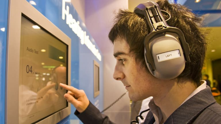 Joshua Jennings undergoes a free audiology test.