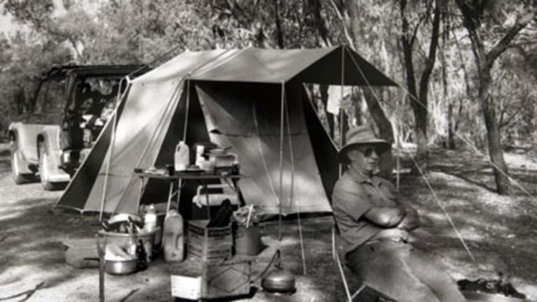 Bowers camping in the outback ... he raised awareness of the blue-green algae problem on the Murray and Darling rivers.