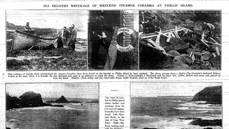 The Age report on the wreck of TSS Coramba from 3rd of December, 1934.