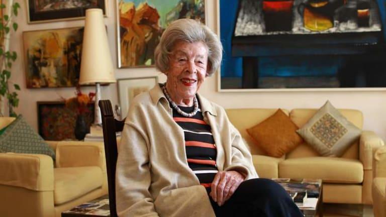 Portrait artist Judy Cassab at home among her art works.