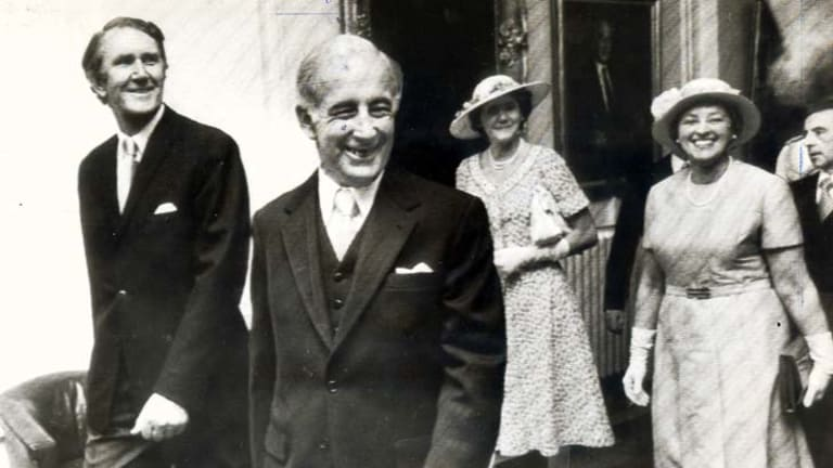First day of office … Malcolm Fraser, left, Sir Zelman Cowen, Tammy Fraser and Lady Cowen.