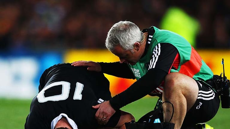 More injury worries ... Colin Slade of the All Blacks was forced off in the first half.