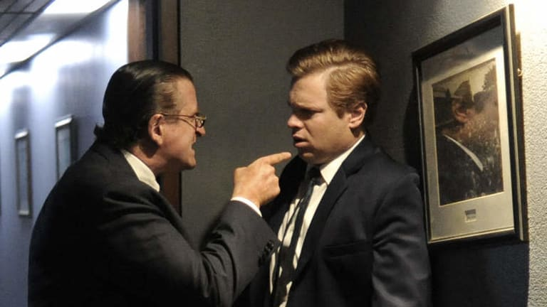 Lachy Hulme as Sir Frank Packer, left, with Luke Ford as a young Kerry Packer in Power Games: The Packer-Murdoch story,