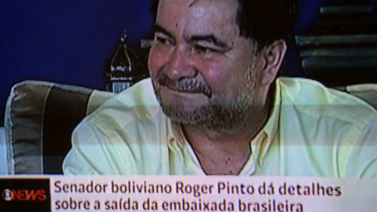 Screen capture of Bolivian opposition senator Roger Pinto speaking during an interview in Brasilia. A Brazilian diplomat revealed Monday that he helped a Pinto escape to Brazil after 15 months asylum in Brasilia's embassy in La Paz.