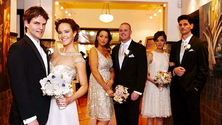 Newlyweds ... Andrew Baud, Krew Boylan, Jodi Boylan, best man Adam Walker, Rose Byrne and Trevor Baud.