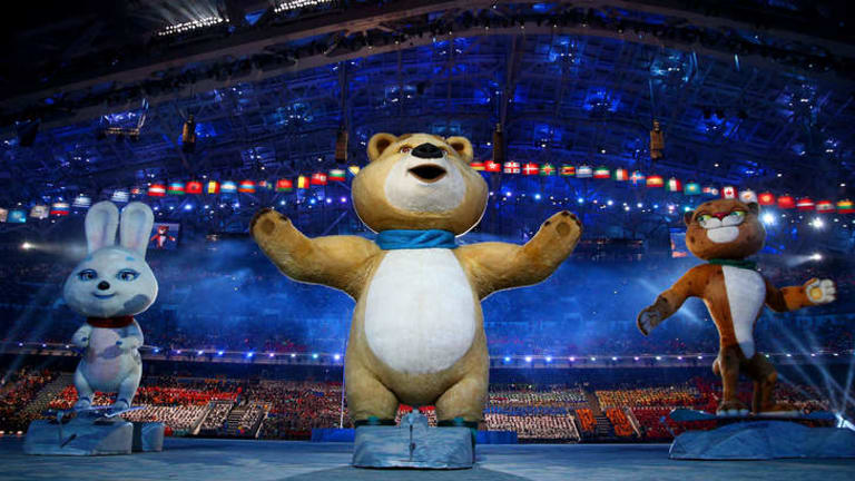 Terrifying: Olympic mascots the hare, the polar bear and the leopard.