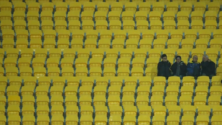 Swathes of empty seats in the stadium during the Saints-Lions game, which drew 13,409 on Anzac Day this year in Wellington.