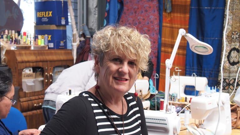 Julie Giles runs Stitch, a sewing program for refugee women at Diversitat in Geelong. She has Afghan and Karan women in her group which is as much about building language skills and social connections as it is about sewing.