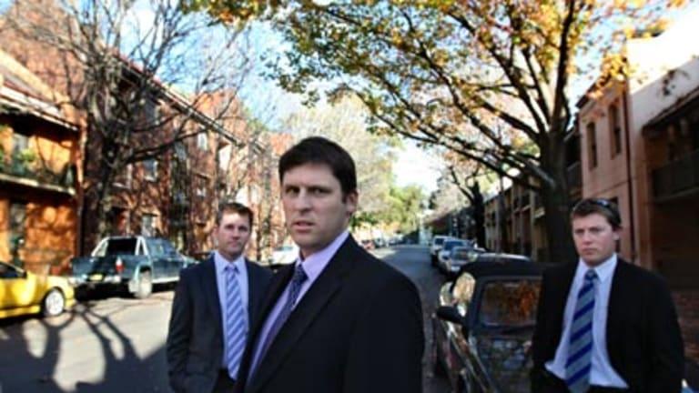 Mean streets...detective Rod Spencer, Matt McQueen and Michael Keegan in Woolloomooloo.