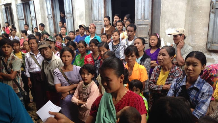 Myanmar Australia Conolly Foundation. November 2015. Queue outside the MACF temporary clinic in the hill village of Leik Tho, Myanmar. Photo: Dr Tim Peltz.