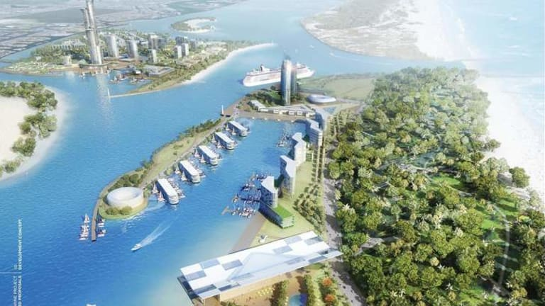 An artists' impression of a proposed cruise ship terminal development on the Gold Coast.