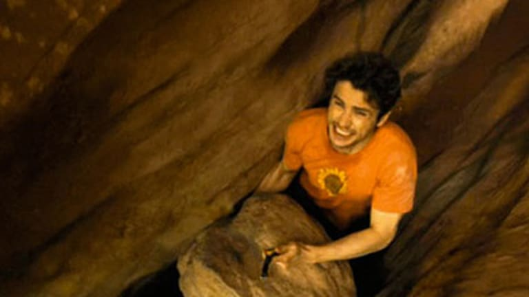 'Overwhelming' ... James Franco plays Aron Ralston in 127 Hours.