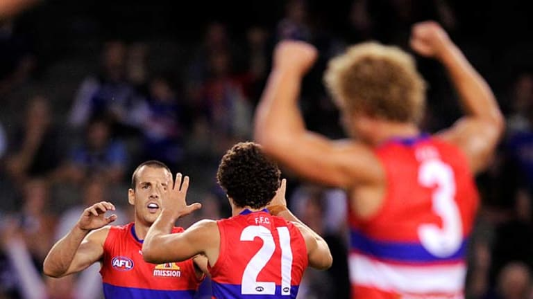 Small Dog: A fitter  Dickson after kicking the winning goal against Carlton last Sunday.