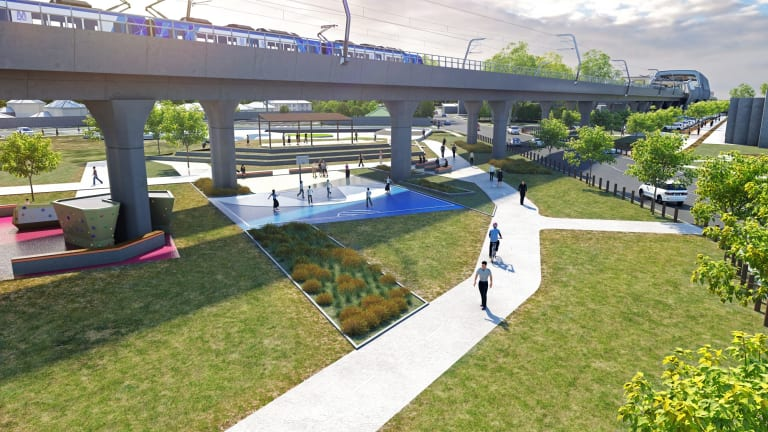 The proposed elevated rail line that would be built in Heatherton.