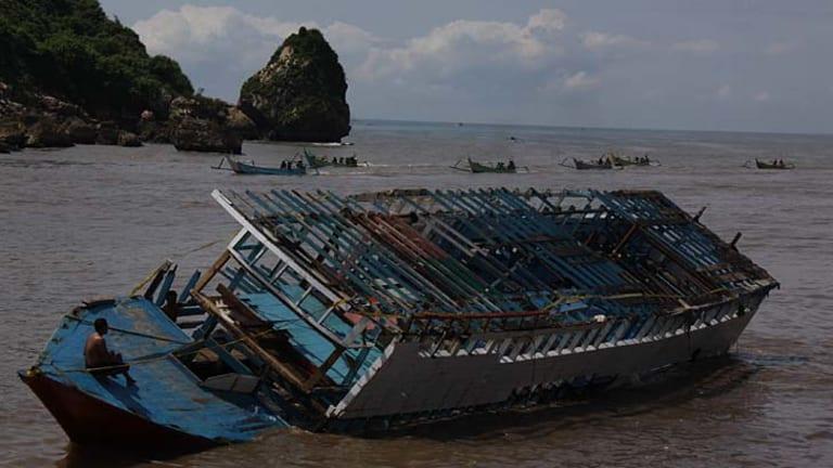Wrecked … the boat was towed to East Javan waters.