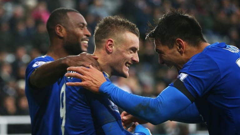 On a streak: Jamie Vardy celebrates scoring his team's first goal with his teammates during the Premier League match between Newcastle United and Leicester City at St James' Park.