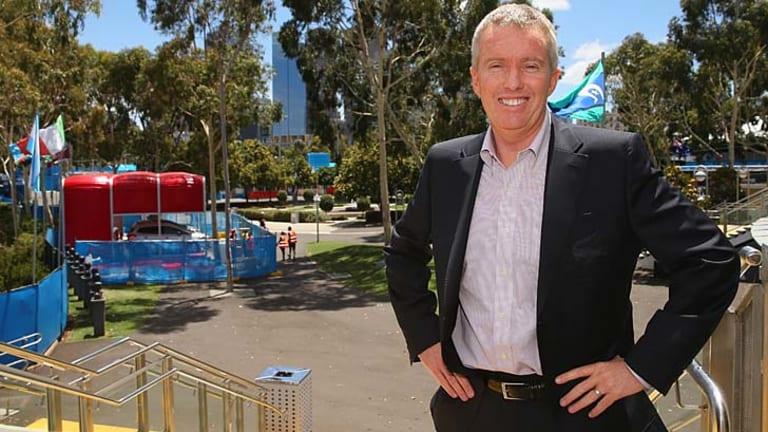 Craig Tiley at Melbourne Park on Sunday.
