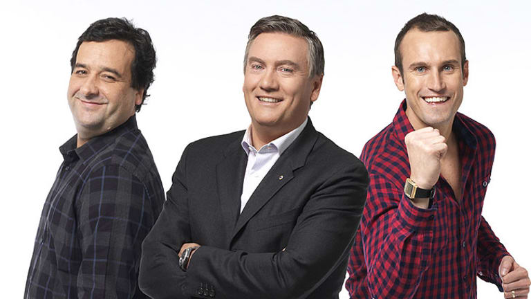 Mick Molloy, Eddie McGuire and Ryan Fitzgerald in a promo shot for 'Between the Lines'.