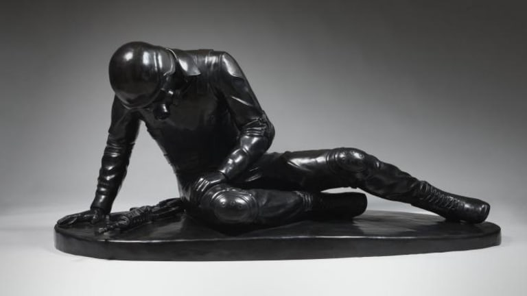 """Penny Byrne's """"felled"""", 2014, cast in bronze, is a contemporary take on the """"Dying Gaul""""."""