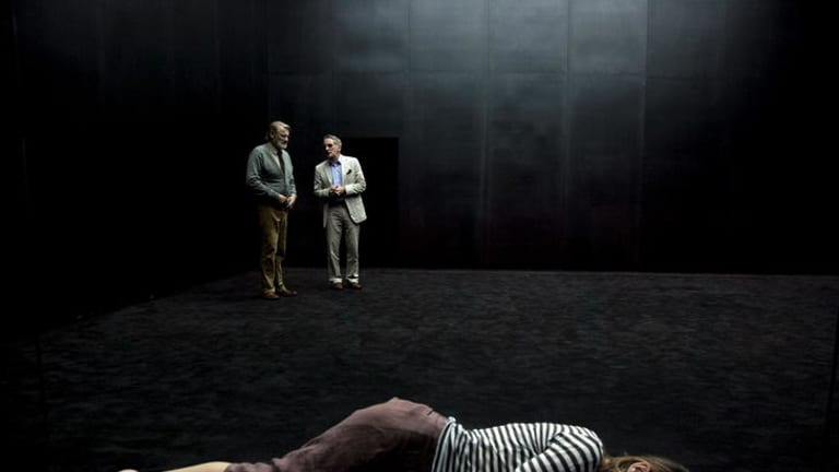 The production of <i>The Wild Duck</i> at the Malthouse Theatre stars Anita Hegh (front), Anthony Phelan and  John Gaden.
