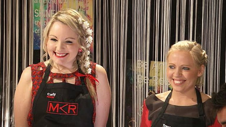 Bring out the ocker in jus ... Carly and Tresne on Seven's <i>MKR</i>.