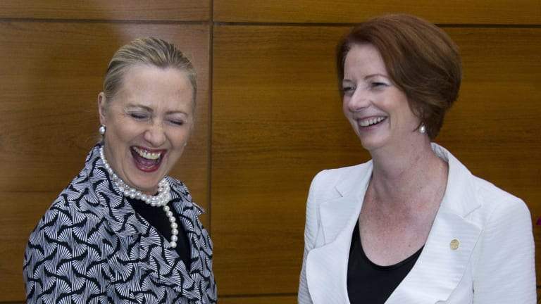 Hillary Clinton (left) and Julia Gillard at the United Nations Conference on Sustainable Development, or Rio+20, in Brazil in 2012.