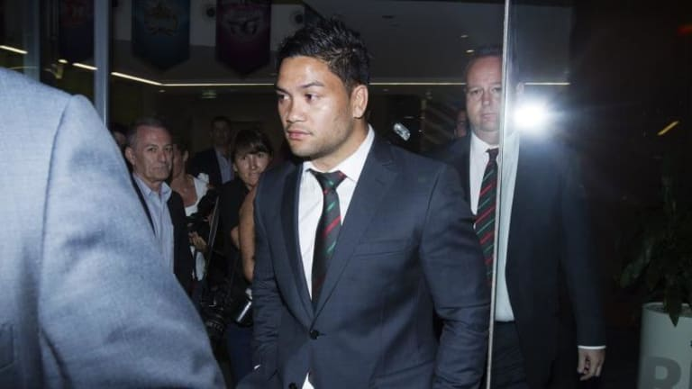 Shattered: Issac Luke leaves the NRL judiciary on Tuesday night.