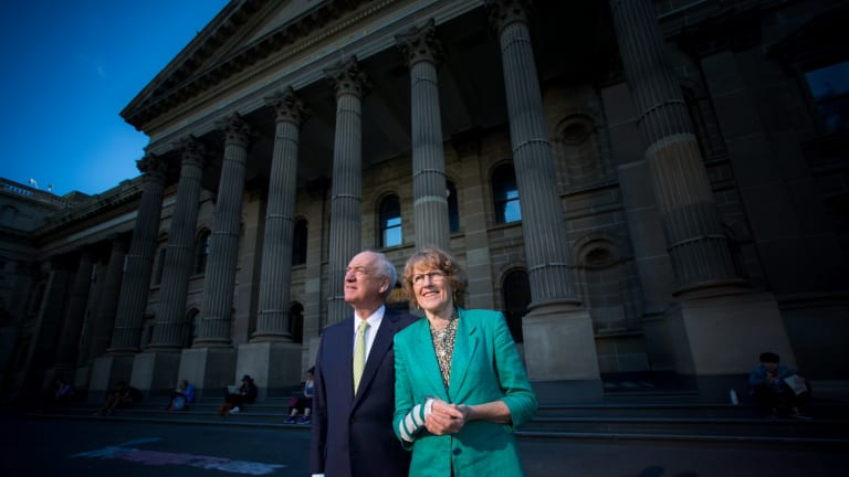 ''Anyone can walk in here, not paying anything and have access to learning,'' says Allan Myers, QC, pictured with wife Maria Myers, who have donated $3 million to the State Library of Victoria's Vision 2020 redevelopment.
