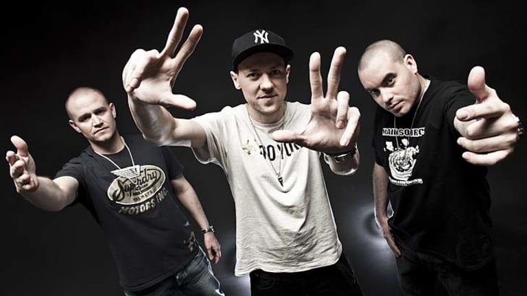 Luck and timing … despite many years of struggle, the Hilltop Hoods - featuring, from left, Dan Smith (MC Pressure), Matt Lambert (MC Suffa), Baz Francis (DJ Debris) - have become one of Australia's most prominent bands.