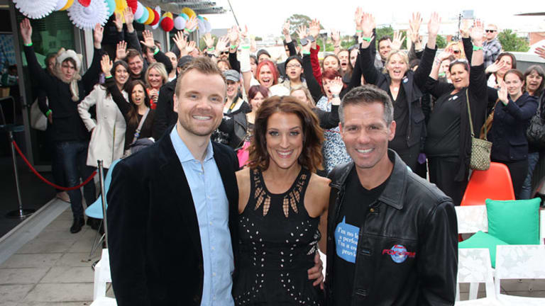 Off air: Troy Ellis, Jo Stanley and Matt Tilley on the Fox FM rooftop in South Melbourne this morning.