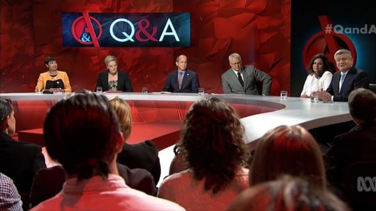 The star panellist of <i>Q&A</i> was journalist Peter Greste, third from left, who is as gently spoken as he is persuasive.