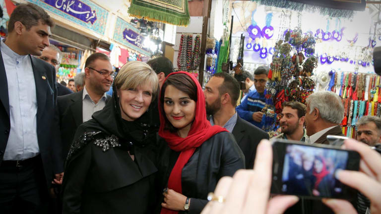 News spread quickly of Foreign Minister Julie Bishop's trip to a bazaar in Tehran in April, where western politicians are a rare sight.