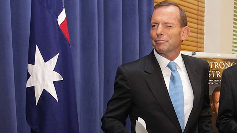 At the launch ... Tony Abbott.