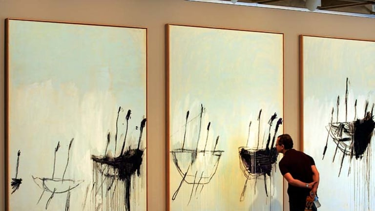 Collection and scholarship ... Cy Twonbly's <em>Three Studies from the Temeraire</em>, bought by the AGNSW in 2004 for $4.5 million.