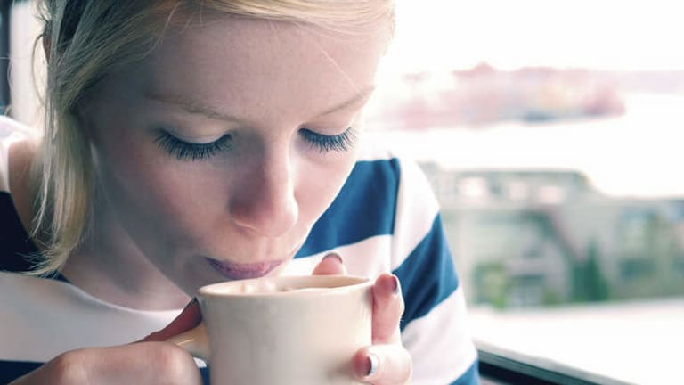 """""""I sit down very quietly and eat my breakfast with a cup of coffee"""" … Mireille Guiliano."""