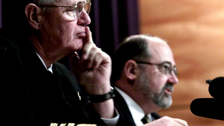 The diarchy ... Admiral Chris Barrie with then Defence Department secretary Allan Hawke in 2000.