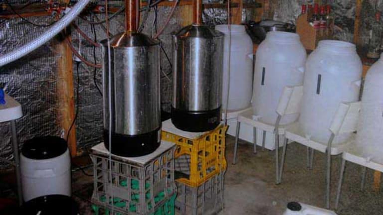 The vodka distillery in Mark Donald's garage.