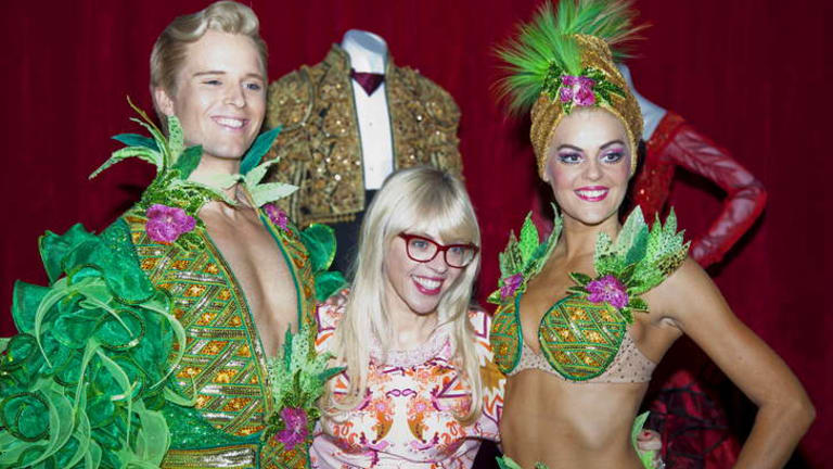 Sequins, pineapple bras and things: Catherine Martin, middle,  at the  Powerhouse Museum for the opening of the Strictly Ballroom exhibition.