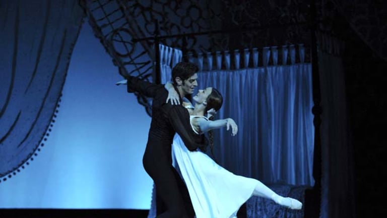 Rapturous lyricism ... Andrew Killian as Onegin and Madeleine Eastoe as Tatiana in the Australian Ballet's production of <i>Onegin</i>.