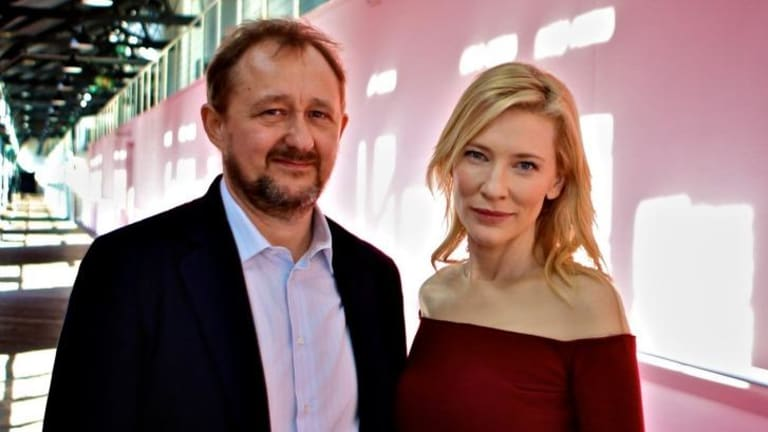 Leaving Sydney: STC's Andrew Upton and his wife, actor Cate Blanchett.