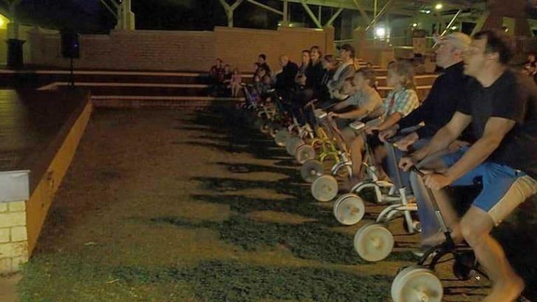 Movie-goers use pedal power.