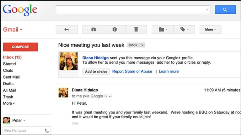 Google+ users can now send emails to your Gmail even if they don't know your address.