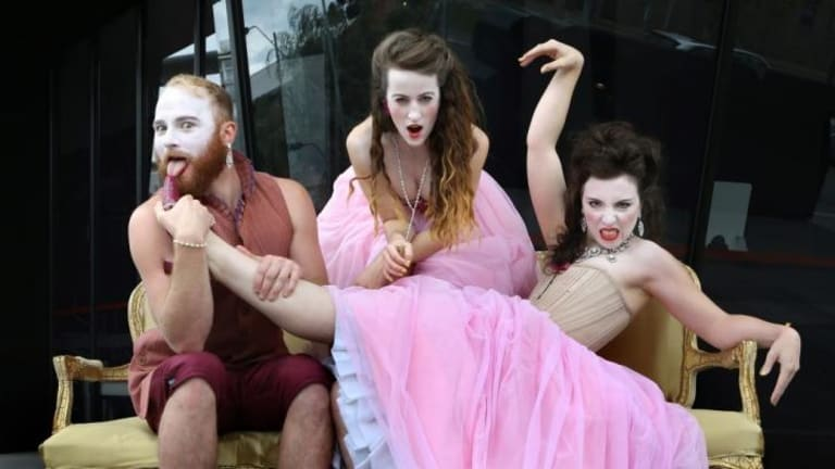 Little Ones Theatre's Tom Dent, Amanda McGregor and Alexandra Aldrich star in <i>Dangerous Liaisons</i> as part of the Melbourne Theatre Company's Neon Festival season of independent theatre.